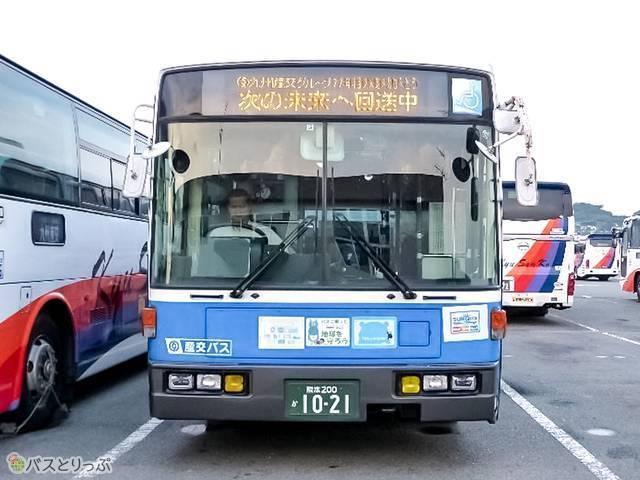 バス上部の方向幕にメッセージが!