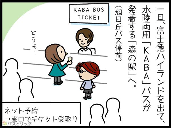 一旦、富士急ハイランドを出て、水陸両用「KABA」バスが到着する「森の駅」へ。(旭日丘バス停前)
