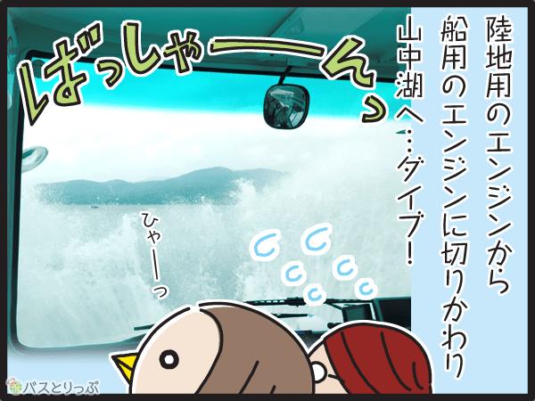 陸地用のエンジンから、船用のエンジンに切り替わり、山中湖へダイブ!