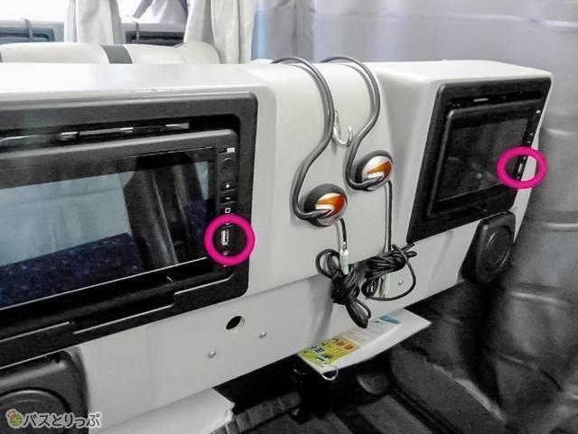 5便グランシアにはモニター部分にUSBポートあり。グランシアには充電設備なし