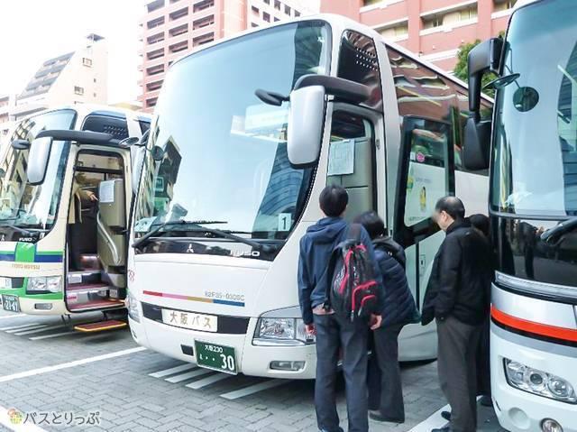 今回のツアーバスは「大阪バス」の運行。乗車しまーす