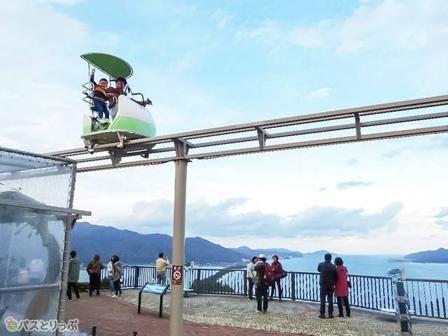 サイクルカーからも飛龍観を眺められる