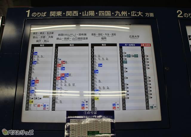 広島バスセンター内の時刻表