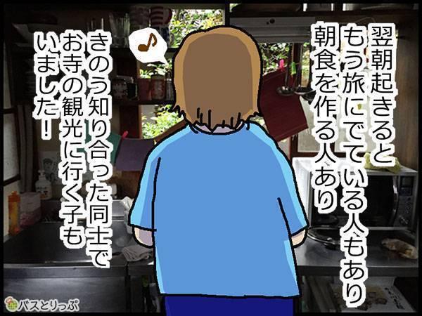 翌朝起きると、もう旅に出ている人もあり、朝食を作る人あり、きのう知り合った同士でお寺の観光に行く人もいました。