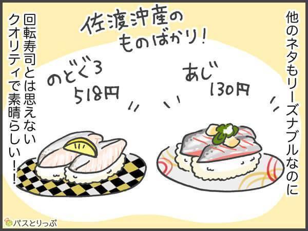 他のネタもリーズナブルなのに回転寿司とは思えないクオリティで素晴らしい!!佐渡産沖のものばかり!あじ130円。のどぐろ518円。