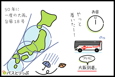 サンシャインエクスプレスの3列独立シート「スリーパー」で新宿駅→梅田モータープールへ「50年に一度の超大型台風に遭遇」