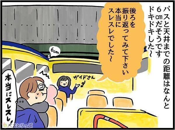 バスと天井までの距離はなんと 6㎝だそうです ドキドキした〜