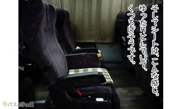 そしてシートは、こんな感じ。ゆったりとしていて、くつろげそうです。