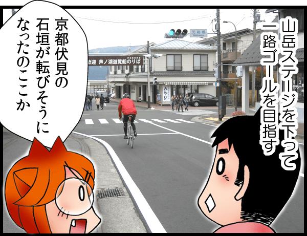 山岳ステージを下って一路ゴールを目指す 京都伏見の石垣が転びそうになったのここか
